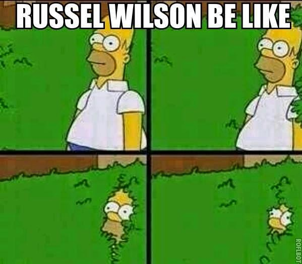 russell wilson be like. - #RussellWilson #seahawkshaters #HomerSimpson #bushes #Hide