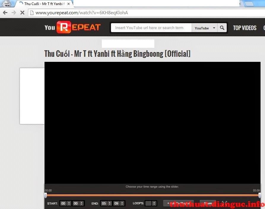 Cách phát lặp lại video youtube khi hết play Repeat