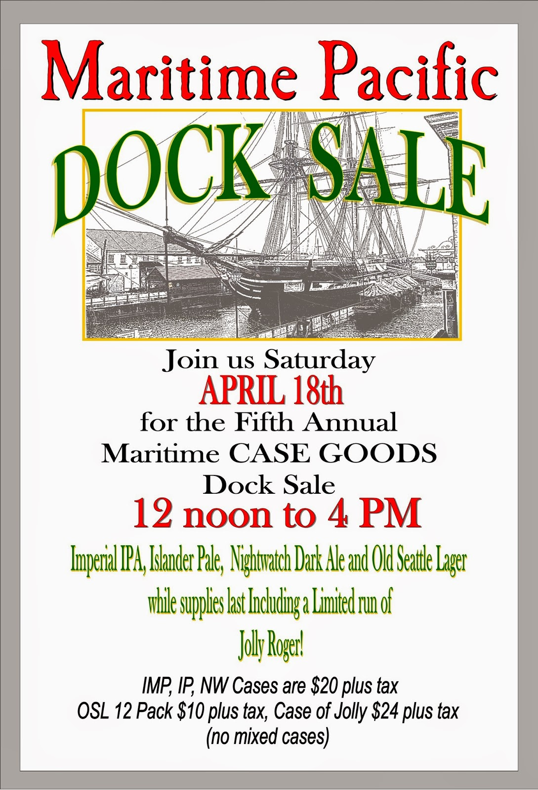 Spring case goods dock sale this saturday april 18th from noon to 4pm