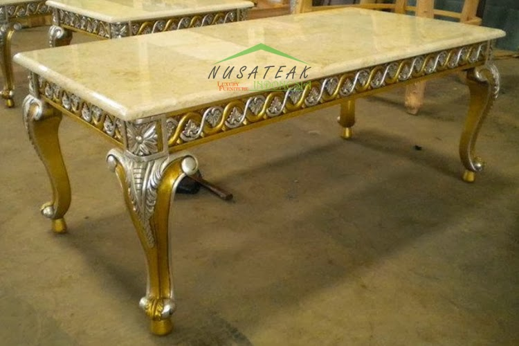 Agnola Gold Dining Table With Marble Luxury Furniture From Indonesia