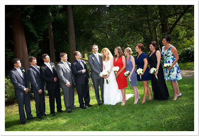 Gaia and Matt with their wedding party in Washington Park Arboretum