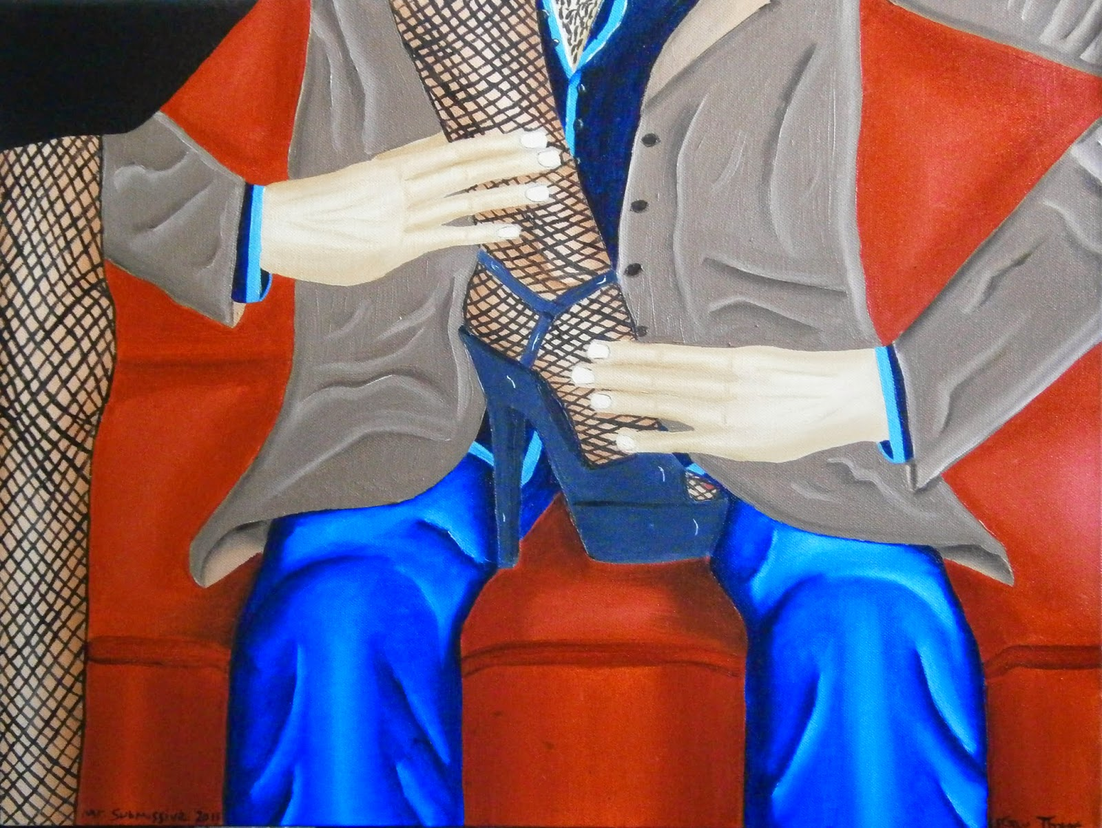 A woman with her foot between a man's legs whilst he's sitting on a couch