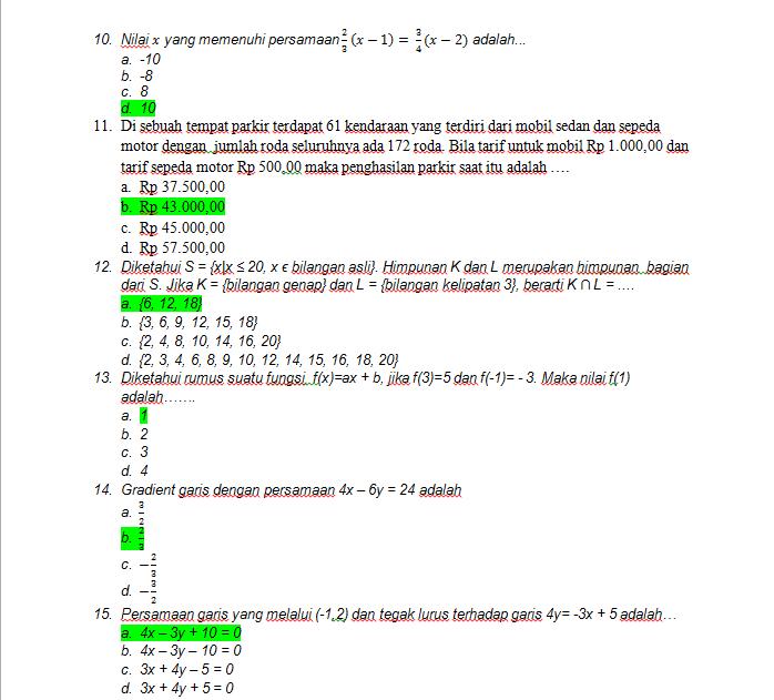 Contoh Soal Simulasi Un Smp Matematika Th 2014 Sesuai Kisi Kisi Knowledge S
