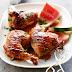 Pollo a la parrilla con sandia
