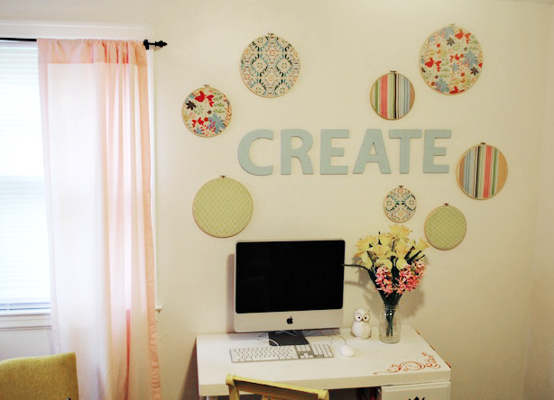 Embroidery Hoops Wall Art for the Craft Room - Classy Clutter