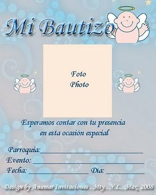 Tarjetas para Bautizo Gratis. - Fondos para Fotos y Foto