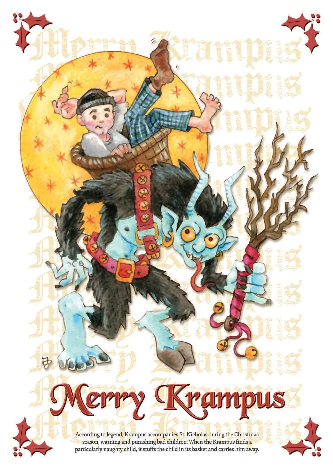 Jeff Davis Illustration: 2011 Christmas Card _ Merry Krampus