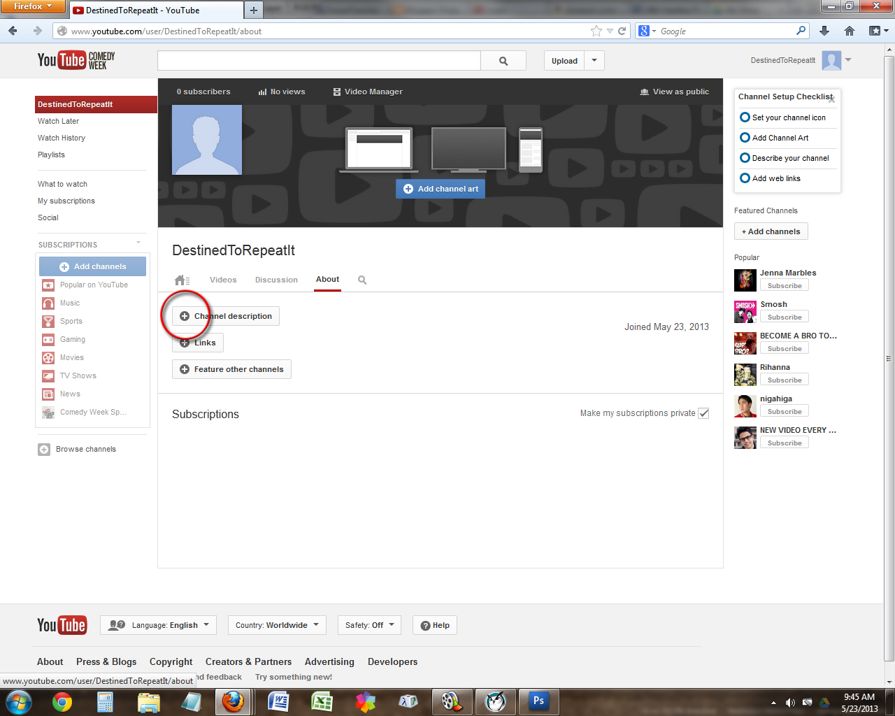 how to create youtube channel with an account