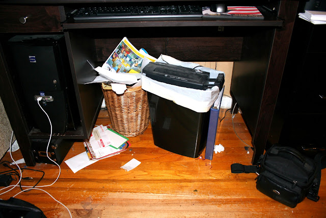woverflowing waste trash garbage basket can wicker desk messy shredder
