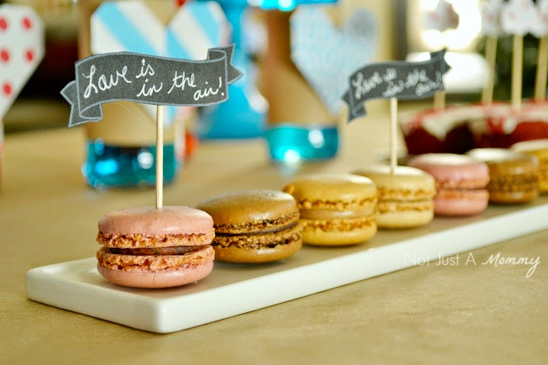 Love Is In The Air Valentine Table macaron flags