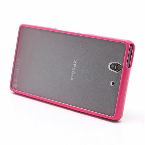 Hybrid Case : TPU Edges and Transparant Back Case Sony Xperia Z L36h L36i C6603 Yuga - Magenta