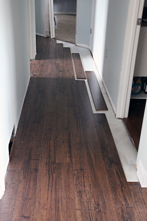 Iheart organizing do it yourself floating laminate floor for Wood floor 90 degree turn