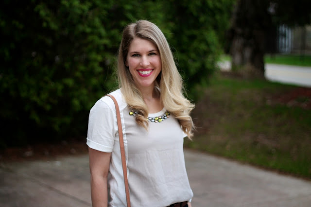 jeweled collar top, dark jeans, bow flats, cole haan bag