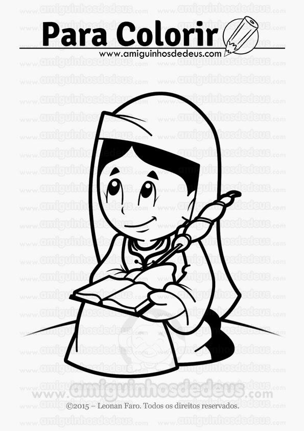 santa genoveva desenho para colorir