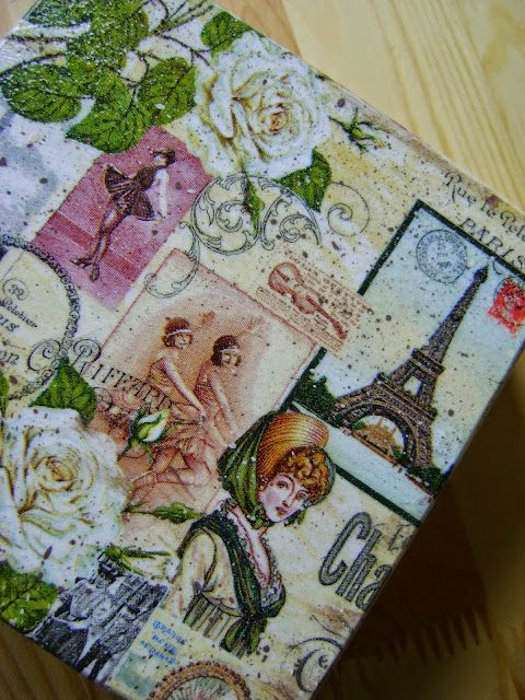 szkatułka decoupage retro Paris
