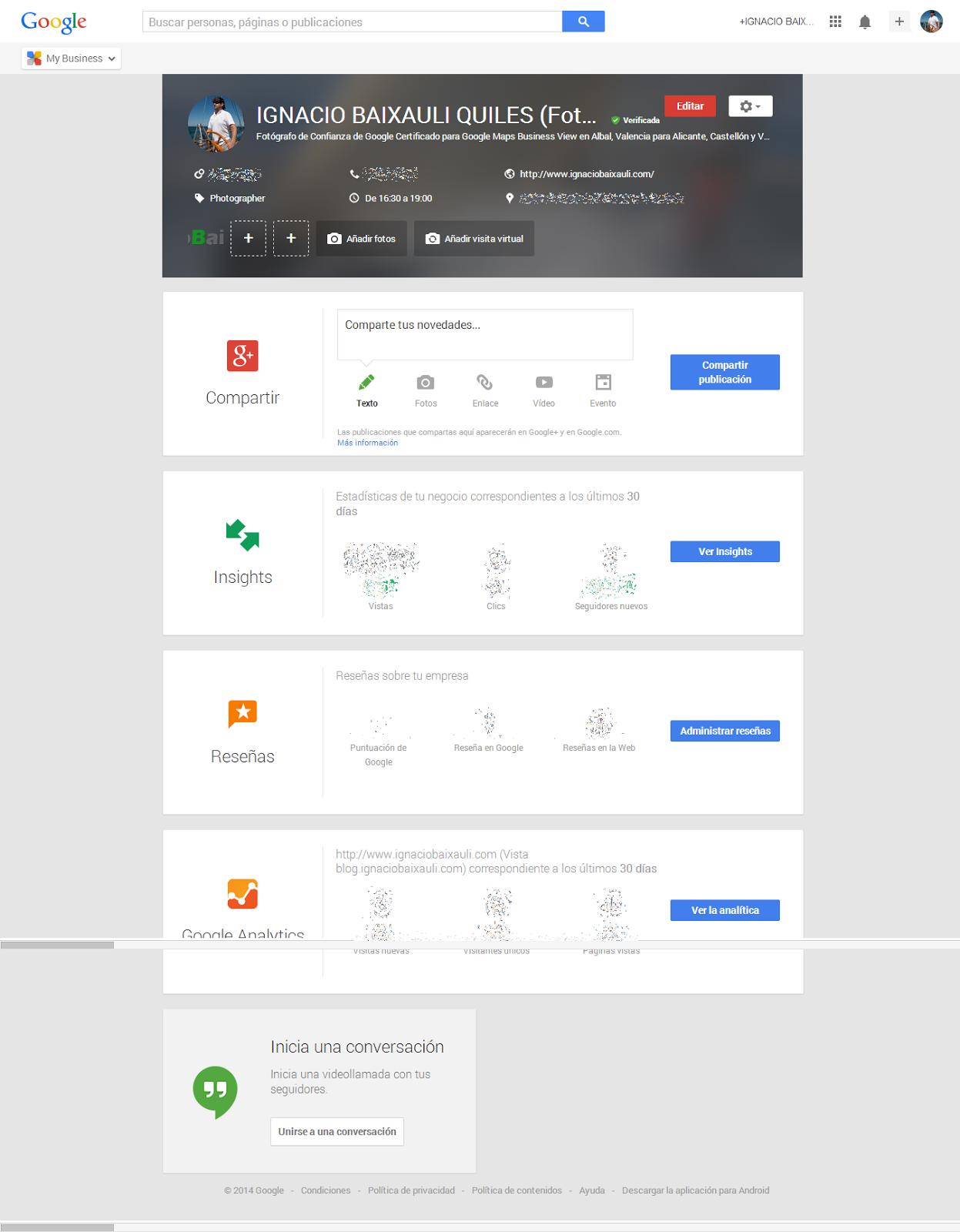 Nuevo panel de administración de Google Mi Negocio. Captura por Ignacio Baixauli