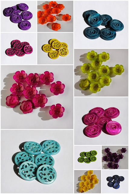 Flower buttons, rose buttons, pink, yellow, green, blue, purple, orange.