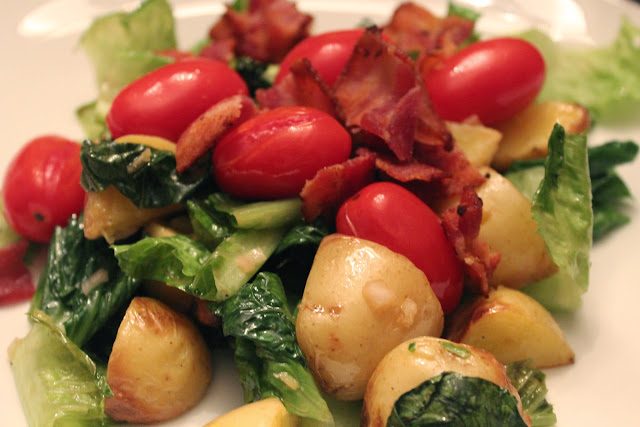Grilled potato salad, BLT style