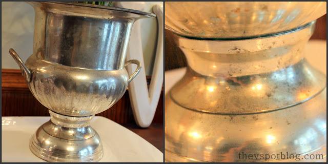 silver, champagne bucket, tarnished, patina, decor