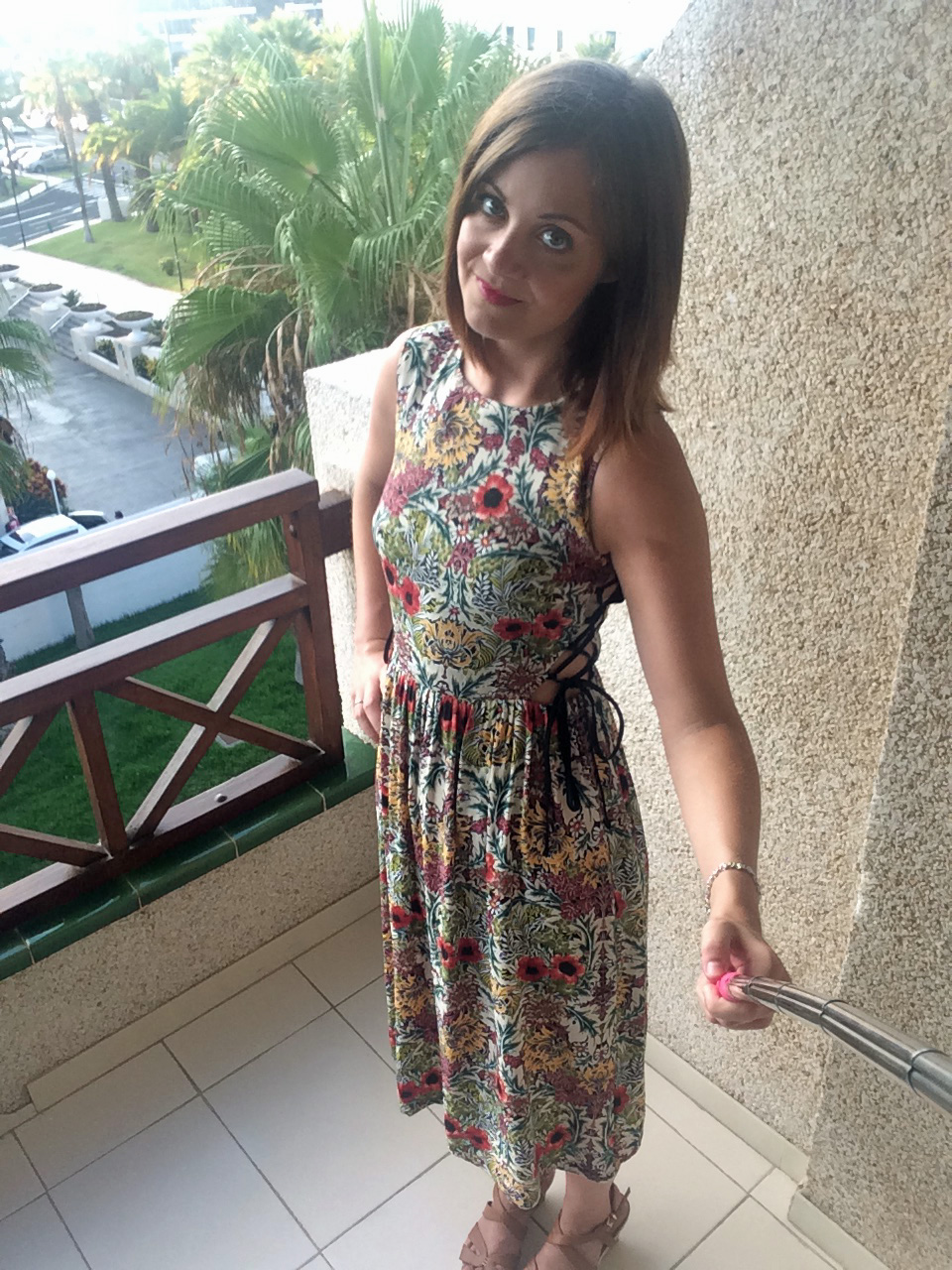 Topshop floral tie-side midi dress