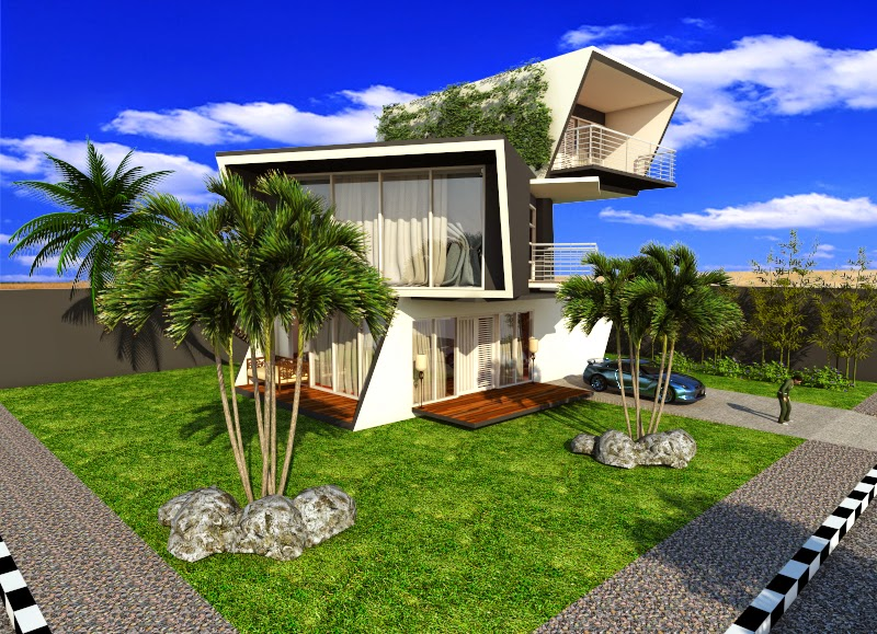 Contoh Desain Eksterior Menggunakan Sketchup dan V-Ray For Sketchup : Cube Transformation House