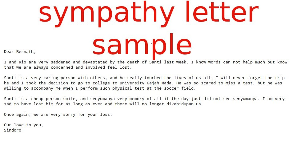 Sympathy letter sample samples business letters spiritdancerdesigns Image collections