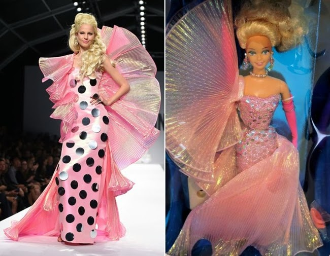 Moschino SS15 Barbie Pink Gown on Runway v.s the Real Barbie