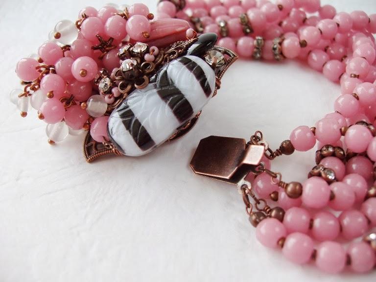 Vintage bracelet Box clasp Fermoir Bijoux perles de verre ancienne