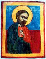 """Icoană pe lemn, Apostolul Andrei, Copyright: Muzeul Naţional al Satului """"Dimitrie Gusti - BUCUREŞTI"""