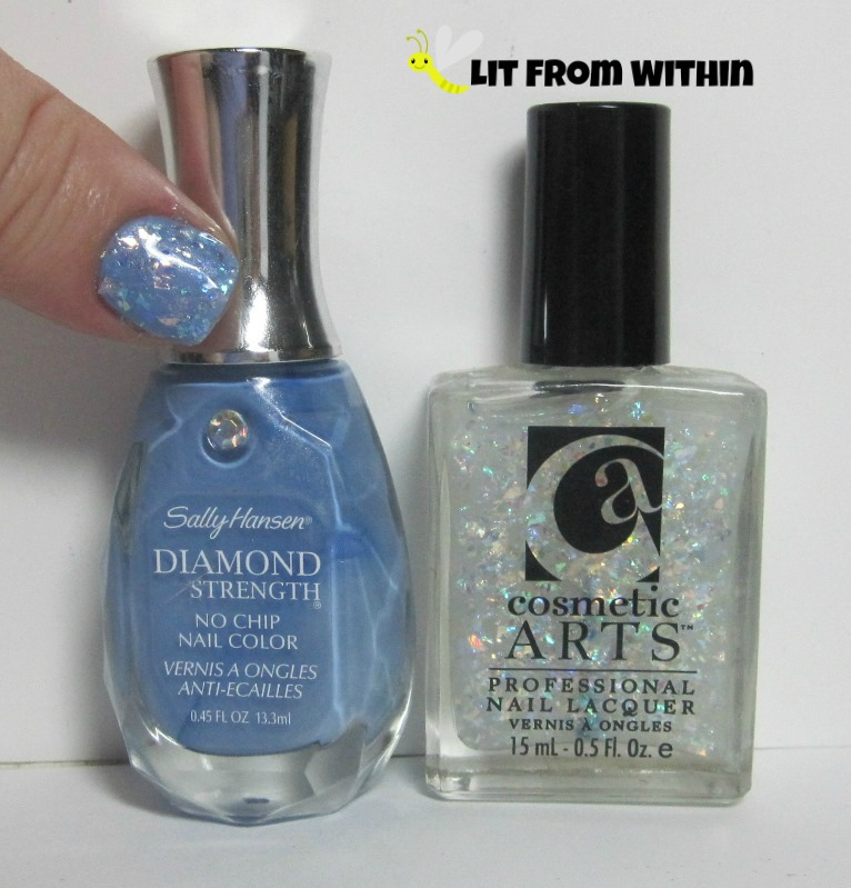 Bottle shot:  Sally Hansen Diamond Guess Blue? and an unnamed Cosmetic Arts flakie.