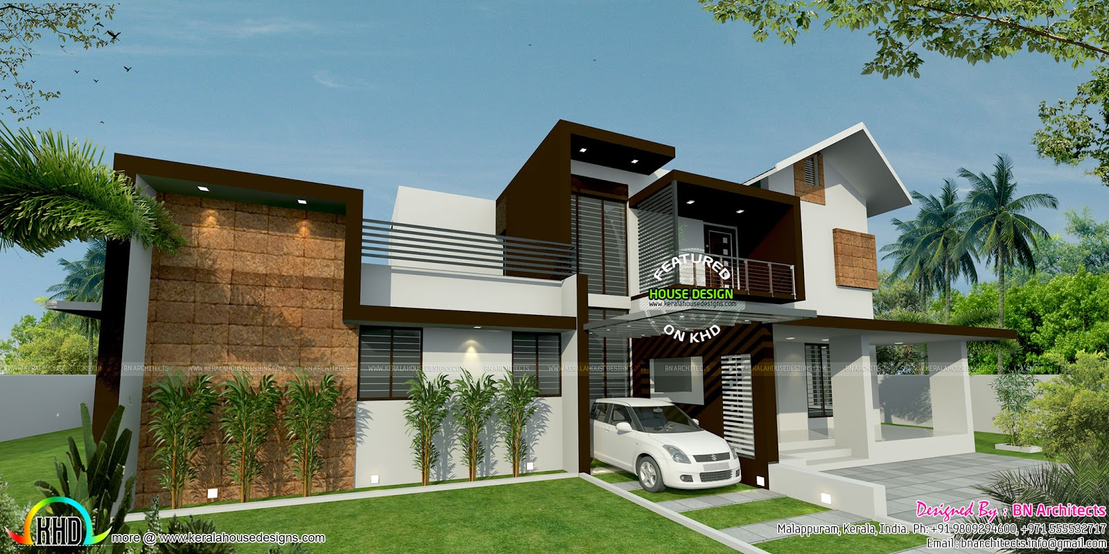 Floor plan and elevation by bn architects kerala home for Home plans architect