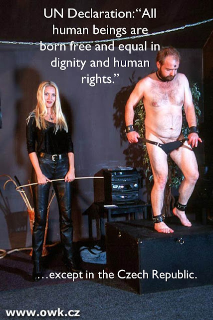 caption blonde femdom smiling as slave humiliated