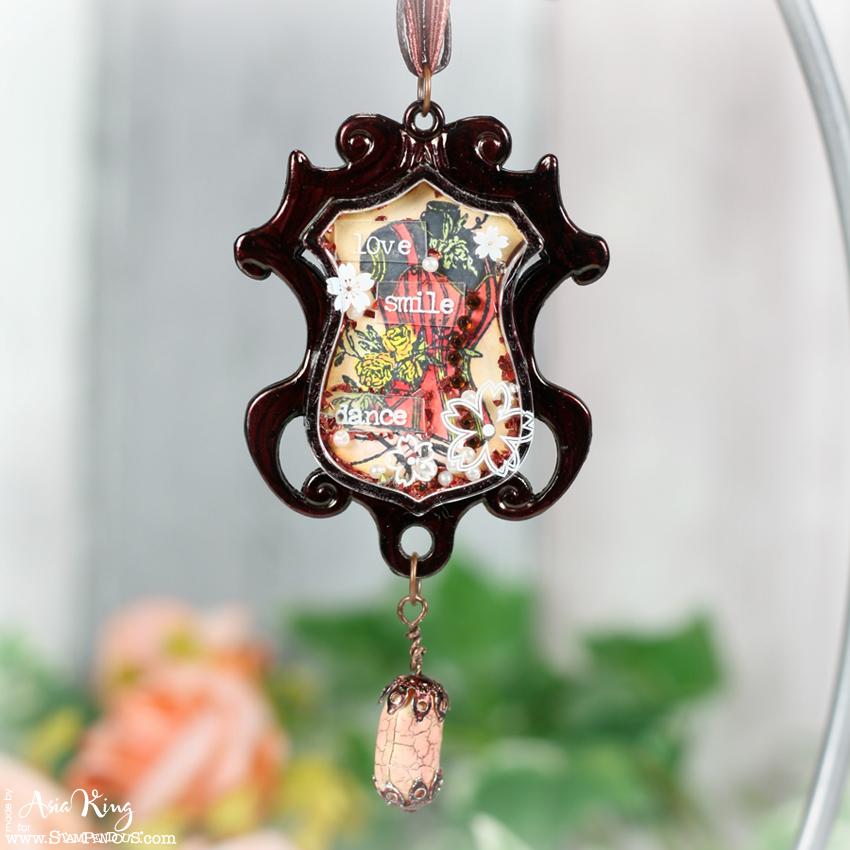 Vintage Stampendous dress form handmade pendant