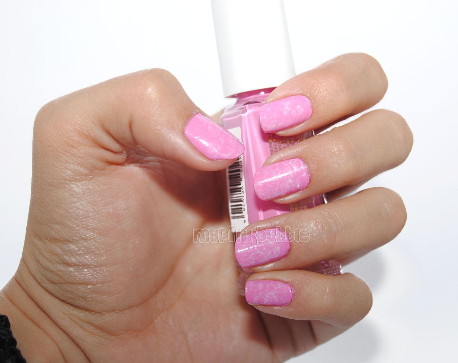 manicura saran wrap rosa