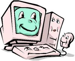 Cartoon of a happy computer with all parts smiling