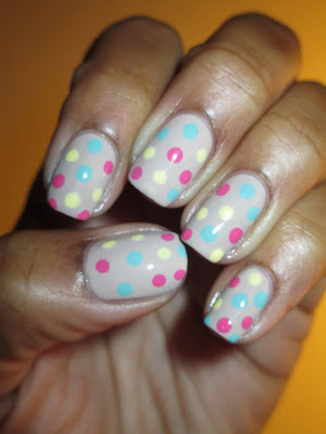 Pastel, polka dots, church mani, pink, mint, yellow, beige, subdues, dubtle, nails, nail art, nail design, mani