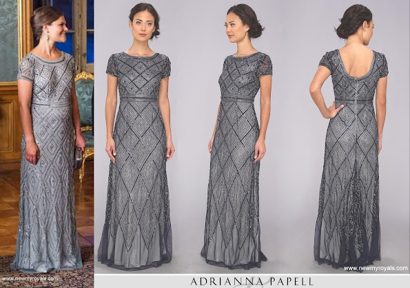 Pregnant Crown Princess wore Adrianna Papell Cap Sleeve Beaded Illusion dress.