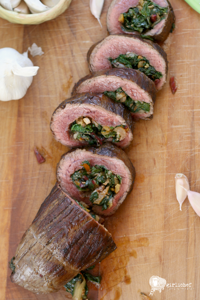 Garlicky Chard Stuffed Flank Steak
