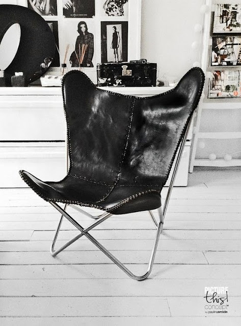 Krzesło butterfly ze skóry czarnej
