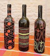 Manualidades para niños: Botellas pintadas paso a paso como pintar botellas