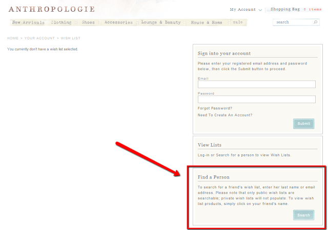 How to find a public Anthropologie.com wishlist :: Effortless Anthropologie