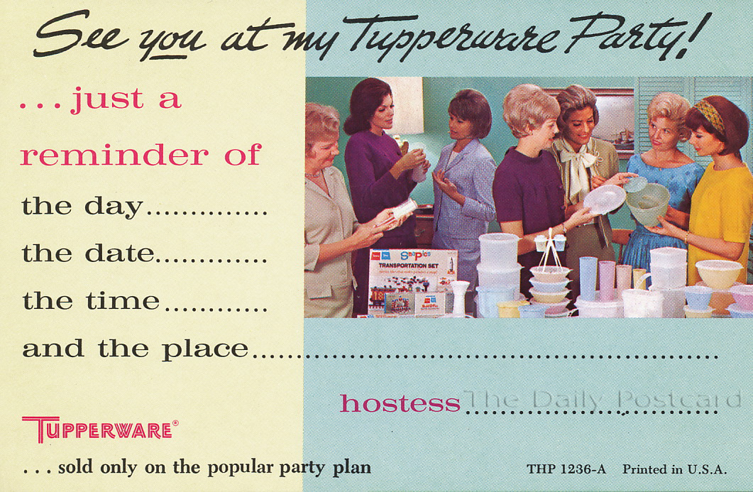 The Daily Postcard A Different Era – Tupperware Party Invitation
