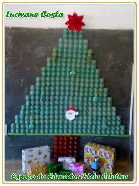 Árvore Natalina de Caixa de Ovos Reciclagem