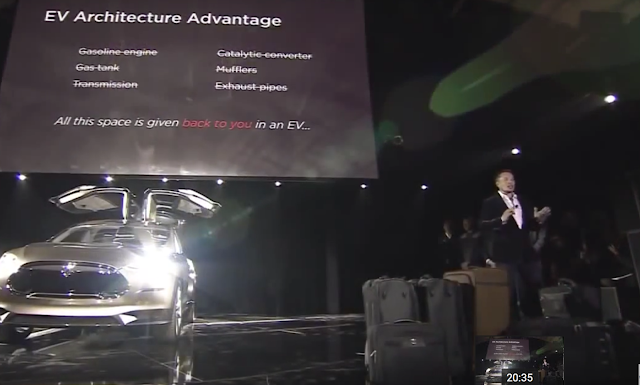 Model X space comes from no engine, gas tank, transmission, converters, muffler, exhaust pipes