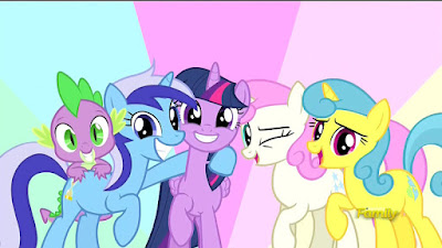 Twilight and her new old friends say hello to Moondancer