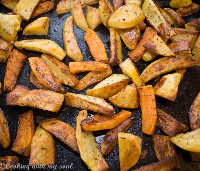 Dovleac si cartof picant, la cuptor