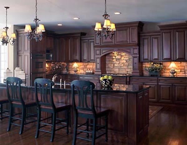 Backsplash idea for dark cabinets the kitchen design for Dark wood kitchen ideas