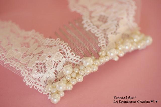 beau peigne de mariée accessoire de mariage, peigne bijoux brodé de perles nacré  de strass