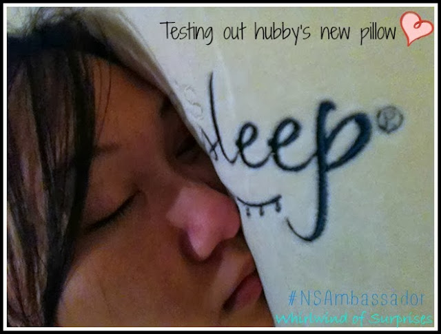 Sleeping beauty tests out the hubby's new Nature's Sleep Vitex Memory Foam pillow