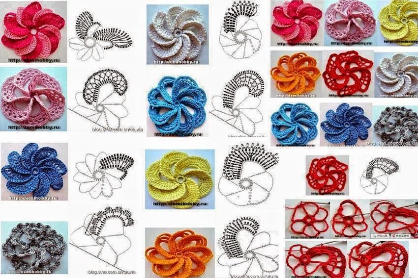 Varias versiones de una misma flor al crochet - con esquemas